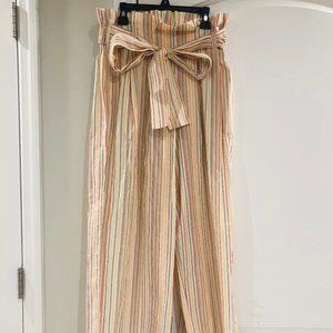J. Crew Paper-bag Waist Wide Leg Striped Pants